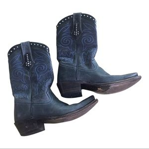 Black Leather Blue Detail Pointed Toe Pull On Cowboy Boots